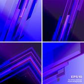 四个 techno 绿色抽象背景的设置 — 图库矢量图片