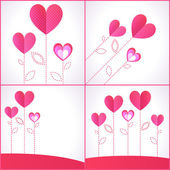Set of four backgrounds with hearts — Stock Vector