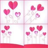4 arka planlar ile kalpleri kümesi — Stok Vektör