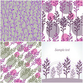 Set of four seamless abstract pattern with clean floral ornament — Stock Vector