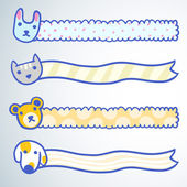 Four banners with cartoon doodle animals — Stockvektor