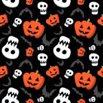 Funny halloween pattern with skulls, bats and pumpkins — Stock Vector #32882027