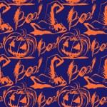 Vector Halloween ink splash pattern with hats and pumpkins — Stock Vector #32882497