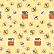 Seamless pattern with cute bees and honey — Stok Vektör