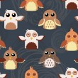Seamless cute owls illustration pattern — ストックベクタ