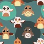 padrão de ilustração de corujas bonito sem emenda — Vetorial Stock