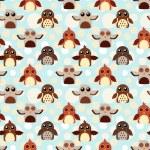 Seamless cute owls illustration pattern — Stock Vector
