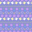 Seamless pattern with birds, flowers and clouds — Stok Vektör