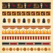 Set of egyptian seamless borders and symbols — Stock Vector #32881237