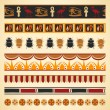 Set of egyptian seamless borders and symbols — Stock Vector