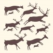 Stock Vector: Vector background with herd of deers
