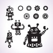 Stickers with funny robots — Stock Vector
