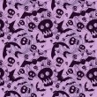 Vector halloween pattern with skulls and bats — Stock vektor