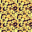 Vector halloween pattern with skulls and bats — ベクター素材ストック