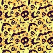 Vector halloween pattern with skulls and bats — Stok Vektör