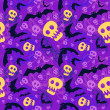 Vector halloween pattern with skulls and bats — Vettoriali Stock