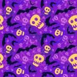 Vector halloween pattern with skulls and bats — Stock Vector