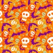 Vector halloween pattern with skulls and bats — Image vectorielle