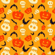Vector funny halloween pattern with skulls, bats and pumpkins — Stock Vector #32882029