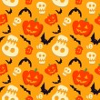 Vector funny halloween pattern with skulls, bats and pumpkins — Stock Vector