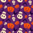 Vector funny halloween pattern with skulls, bats and pumpkins — 图库矢量图片