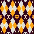 Vector knitted pattern with skulls and bones — Stock Vector