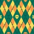 Vector knitted pattern with skulls and bones — Image vectorielle