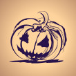 Stockvector : Halloween ink splash illustration with pumpkin