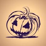 Ilustración de salpicaduras de tinta de Halloween con calabaza — Vector de stock