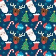 Funny vector pattern with Christmas elements — Image vectorielle