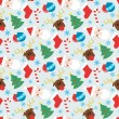 Funny vector pattern with Christmas elements — Stockvectorbeeld