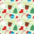 Funny vector pattern with Christmas elements — Stock vektor
