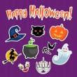Set of Halloween funny stickers — Stock Vector