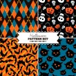 Set of four Halloween vector patterns — Stock Vector