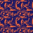 Vector Halloween ink splash pattern with hats and pumpkins — Vettoriali Stock