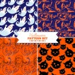 Set of four Halloween vector patterns — ストックベクタ