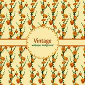 花と緑の葉と枝のベクトル パターン — ストックベクタ