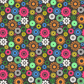 Seamless retro pattern with cogwheel — Stock Vector