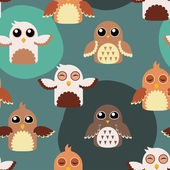 Seamless cute owls illustration pattern — Stock Vector