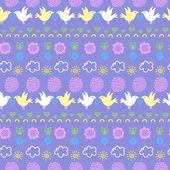 бесшовный узор с птицами, цветами и облака — Cтоковый вектор