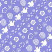 Seamless pattern with birds, flowers and clouds — Stock Vector
