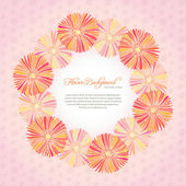 Pink card template with daisy flowers — Stock Vector