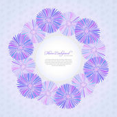 Violet card template with daisy flowers — Stock Vector