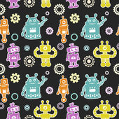 Funny pattern with robots and cogwheel — Stok Vektör