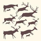 Vector background with herd of deers — Stock Vector