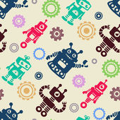 Funny pattern with robots and cogwheel — Stockvector