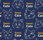Modello senza saldatura con gatti divertenti e calligrafia — Vettoriale Stock