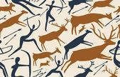 Modello vettoriale sulla caccia con figure primitivi — Vettoriale Stock