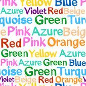 Mönster med ord som betecknar färg — Stockvektor