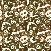 Vector halloween pattern with skulls and bats — ストックベクタ